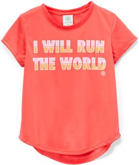 Gaiam Sunkist Coral 'Run the World' Mesh-Back Lotus Chibori Tee - Girls