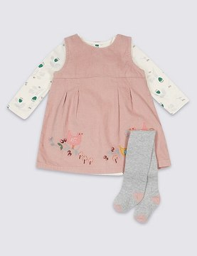Marks and Spencer 3 Piece Dress & Bodysuit with Tights Outfit