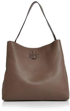 Tory Burch McGraw Leather Hobo Bag - BLACK/GOLD - STYLE