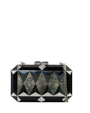 Rafe Sara Faceted Shell Minaudiere, Black/Multi