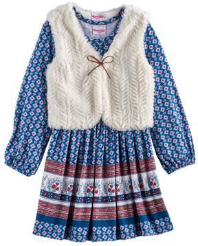 Nannette Girls 4-6x Printed Dress & Vest Set