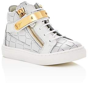 Giuseppe Zanotti Unisex Aftering Croc Embossed Lace Up Sneakers - Walker, Toddler