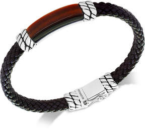 Effy Men's Tiger's Eye Brown Leather Bracelet in Sterling Silver