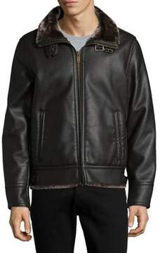 Karl Lagerfeld Zip Front Faux Leather Jacket