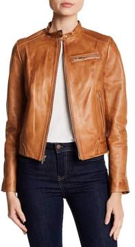 Cole Haan Burnished Lambskin Leather Jacket