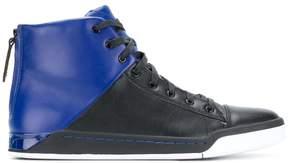 Diesel two-tone hi-top sneakers
