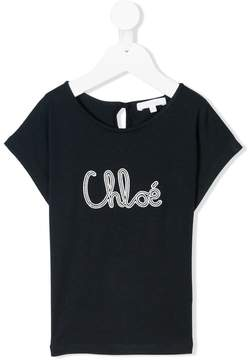 Chloé Kids logo embroidered T-shirt