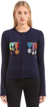 Stella Jean Embellished Zip Up Wool Knit Sweater