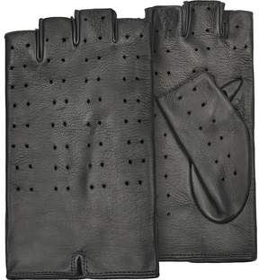 Forzieri Women's Black Perforated Fingerless Leather Gloves