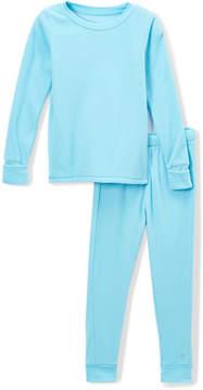 Cuddl Duds Ice Blue Fleece Base Layer Top & Leggings - Girls