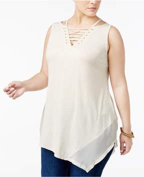 Belldini Plus Size Lace-Up Asymmetrical-Hem Tunic