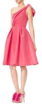 Carolina Herrera One-Shoulder Bow Back Dress
