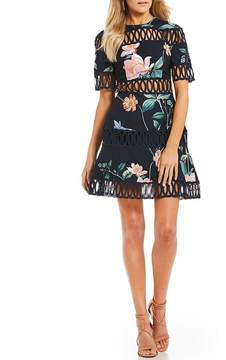 Keepsake Whispers Floral Crochet Mini Dress