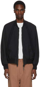 Robert Geller Black Bertrand Paper Cotton Bomber Jacket