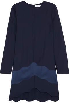 Carven Satin-paneled Crepe Mini Dress - Navy