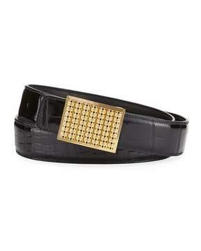 Stefano Ricci Crocodile Buckle Belt, Black