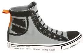 Diesel Men's Grey/black Fabric Hi Top Sneakers.