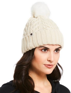 UGG Cable-Knit & Shearling Beanie with Pom