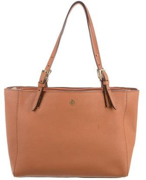 Tory Burch Saffiano Leather Tote - BROWN - STYLE