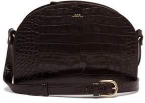 A.P.C. Half Moon Crocodile Effect Leather Cross Body Bag - Womens - Burgundy