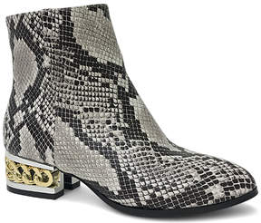 Bamboo Black Snakeskin Print Hype Boot - Women