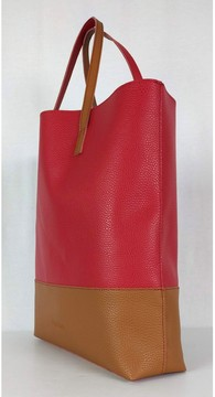 Max Mara Tan & Red Textured Leather Tote Bag
