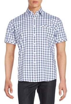 James Campbell Regular-Fit Windowpane Check Cotton Sportshirt