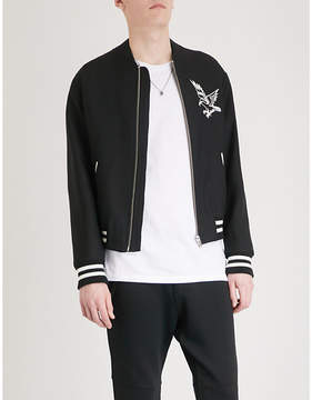 The Kooples Cuba embroidered wool bomber jacket