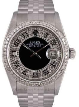 Rolex Datejust Stainless Steel Black Bulls Eye Tuxedo Diamond Dial & Bezel 36mm Mens Watch