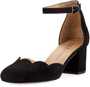 Neiman Marcus Zehira Scallop Suede Sandal, Black