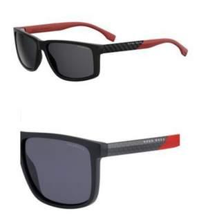 HUGO BOSS BOSS by Men's B0879s Rectangular Sunglasses, Matte Black/Smoke Polarized, 57 mm