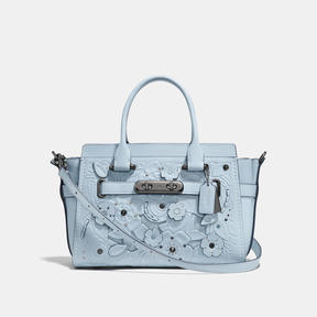 COACH Coach Swagger 27 With Tea Rose Tooling - DARK GUNMETAL/PALE BLUE - STYLE