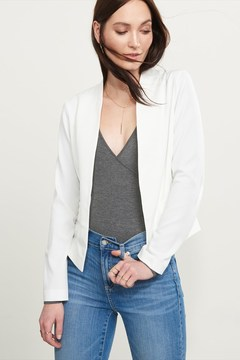 Dynamite Collarless Cropped Blazer