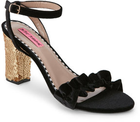 Betsey Johnson Black & Gold Iliana Ruffled Sequined-Heel Sandals