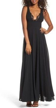 LuLu*s Women's Lace Trim Chiffon Maxi Dress