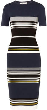 Diane von Furstenberg Striped Stretch-knit Midi Dress - Navy