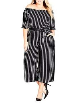 City Chic Plus Striped Play Jumpsuit