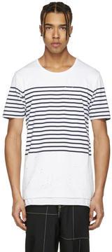 Miharayasuhiro White Striped Distressed T-Shirt