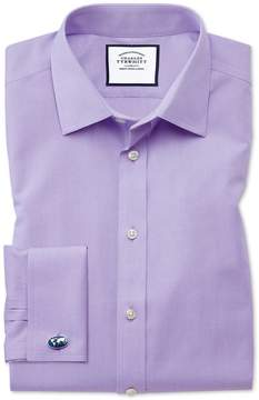 Charles Tyrwhitt Slim Fit Non-Iron Poplin Lilac Cotton Dress Shirt Single Cuff Size 14.5/33