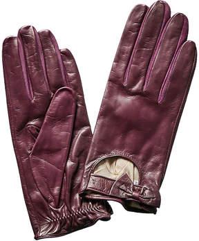 Portolano Aubergine Leather Driving Gloves