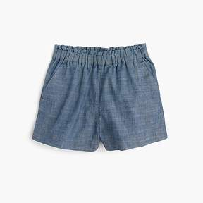 J.Crew Girls' pull-on short in chambray