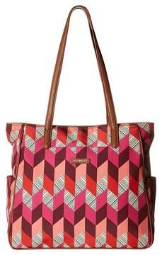 Vera Bradley Preppy Poly Zip Top Tote Tote Handbags - BOHEMIAN CHEVRON - STYLE