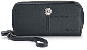 Co Stone & Nancy Leather Double Zip Around Wallet
