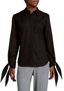 Saks Fifth Avenue BLACK Long Sleeve Poplin Cotton Button-Down Shirt