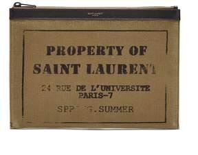 Saint Laurent Logo-printed leather-trimmed cotton pouch