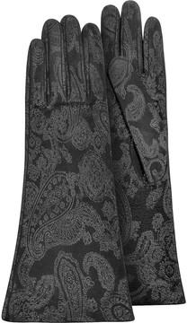 Forzieri Women's Black Suede Gloves w/ Silkscreen Design