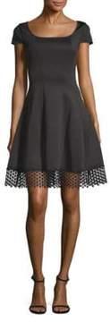 Donna Ricco Cap-Sleeve Scuba Fit-&-Flare Dress
