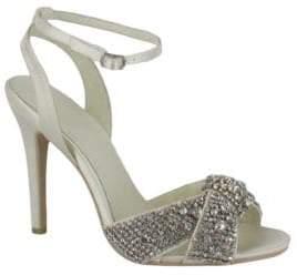 Menbur Alex Rhinestone Embellished Satin Slingback Sandals