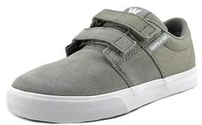 Supra Stacks Ii Vulc Strap Youth Round Toe Leather Gray Skate Shoe.