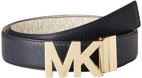MICHAEL Michael Kors 38mm Reversible Pebble to Logo Belt on MK Plaque Buckle Women's Belts